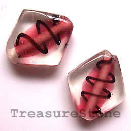 Bead, lampworked glass, pink, 18x19x6mm. Pkg of 6.