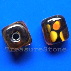 Bead, lampworked glass, 10x11mm. Pkg of 6.