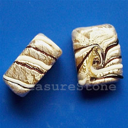 Bead, lampworked,white+silver+gold,13x7x17mm rectangle. Pkg of 3