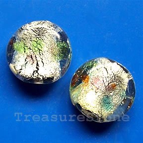 Bead, lampworked glass, 15x6mm flat round. Pkg of 5.