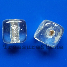 Bead, lampworked glass, silver, 10mm cube. Pkg of 8.