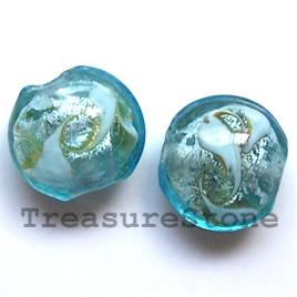 Bead, lampworked glass, 15x10mm puffed round. Pkg of 4.