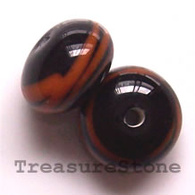 Bead, Lampworked glass, black, 13x8mm rondelle. Pkg of 6.