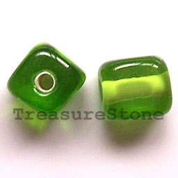 Bead, lampworked glass, green, 9mm cube. Pkg of 10.