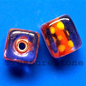 Bead, lampworked glass, 10mm cube. Pkg of 6.