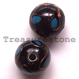 Bead, lampworked glass, black, 11mm round. Pkg of 6.