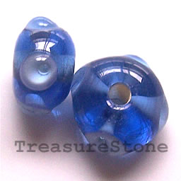 Bead, lampworked glass, blue, 12x7mm rondelle. Pkg of 6.