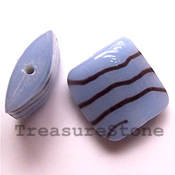 Bead, lampworked glass, 20x8mm puffed square. Pkg of 6.