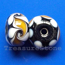 Bead, lampworked glass, black, 13x9mm rondelle. Pkg of 5.