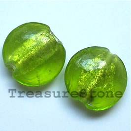 Bead, lampworked glass, green, 19x8mm puffed round. Pkg of 5.