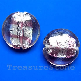 Bead, lampworked glass, 19x8mm puffed round. pkg of 5.