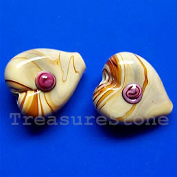 Bead, lampworked glass, 5x17x6mm heart. Pkg of 5.