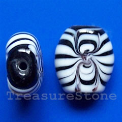 Bead, lampworked glass, black+white, 13x15x6mm. Pkg of 5.