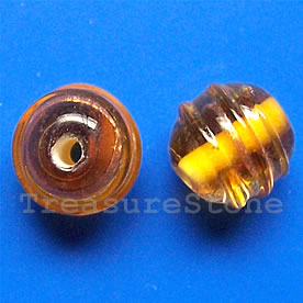 Bead, lampworked glass, amber, 12mm round. Pkg of 8.