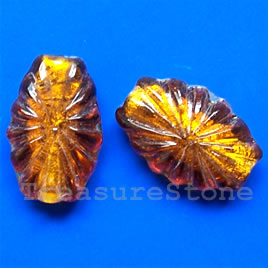 Bead, lampworked glass, amber, 15x22x8mm. Pkg of 6.