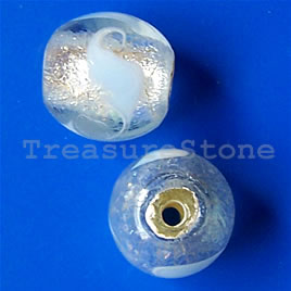 Bead, lampworked glass, clear, 12mm round. Pkg of 6.