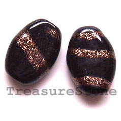 Bead, lampworked glass, black, 13x18x6mm flat oval. Pkg of 5.