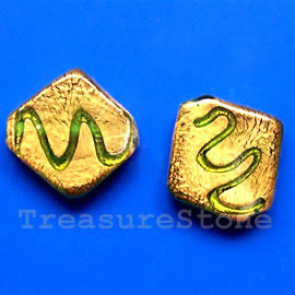 Bead, lampworked glass, gold foil, 17x18x4mm. Pkg of 4.