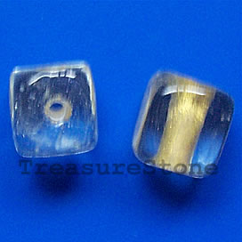 Bead, lampworked glass, 10mm cube. Pkg of 8.