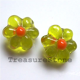 Bead, lampworked glass, green, 15x8mm flower. pkg of 6.