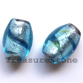 Bead, lampworked glass, blue, 12x17mm drum. Pkg of 5.