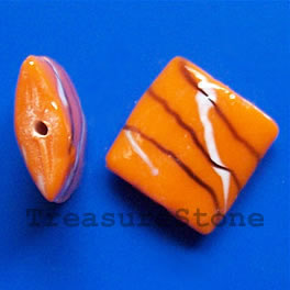 Bead, lampworked glass, orange, 20x7mm puffed square. Pkg of 6.