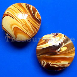 Bead, lampworked glass, 19x7mm puffed round. pkg of 4.