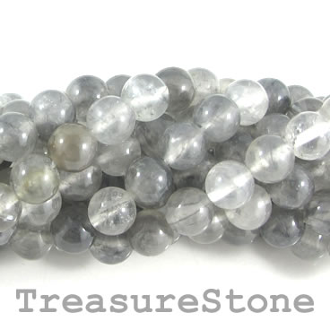 Bead, grey quartz, 8mm round. 15.5-inch, 47pcs.