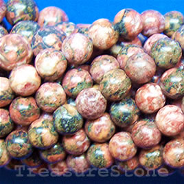 Bead, red leopardskin jasper, 8mm round. 16 inch strand.