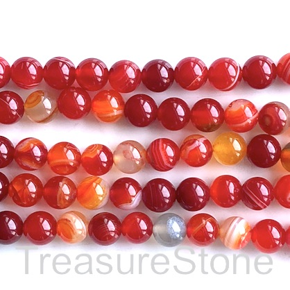 Bead, agate (dyed), red, 8mm round. 15-inch