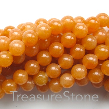 Bead, red aventurine, 8mm round. 15-inch strand, 46pcs