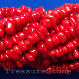 Bead, coral (dyed), red, chip. 16-inch strand.
