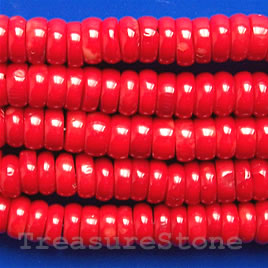 Bead, coral (dyed), red, 9x5mm disc. 16-inch strand.