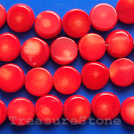 Bead, coral (dyed), red, 10mm flat round. 16-inch strand.