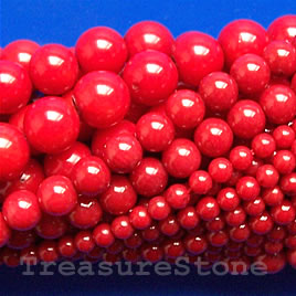 Bead, coral (dyed), red, 4-5 mm round, A grade. 16-inch strand.