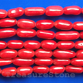 Bead, coral (dyed), red, 5mm oval. 16-inch strand.