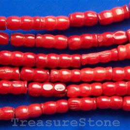 Bead, coral (dyed), red, 4.5mm shape tube. 16-inch strand.