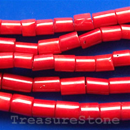 Bead, coral (dyed), red, 5x7mm tube. 16-inch strand.