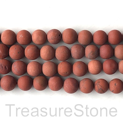 Bead, red jasper, 10mm round, matte, frosted. 15.5-inch, 39pcs