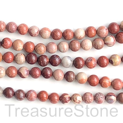 Bead, red porcelain jasper, 8mm round. 15.5-inch, 49pcs