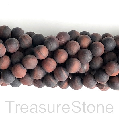 Bead, red Tiger's Eye, 6mm round matte, B- grade. 15-inch, 62pcs