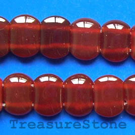 Bead, red agate(dyed), 10x14mm double-drilled. 16-inch strand