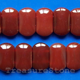 Bead, red agate (dyed), 12x20mm double-drilled. 16-inch strand.