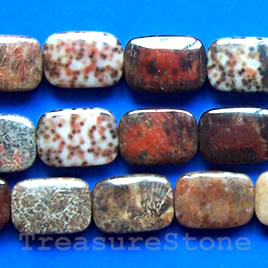 Bead, red coral fossil, 10x14mm rectangle. 16-inch strand.