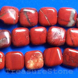 Bead, red jasper, 12mm flat square. 16-inch strand.