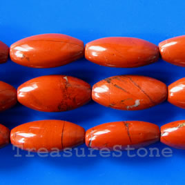 Bead, red jasper, 12x24mm puffed oval. 16-inch strand.