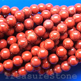 Bead, red jasper, 6mm round. 15.5-inch strand.