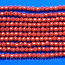 Bead, red jasper, 3mm round. 16-inch strand.