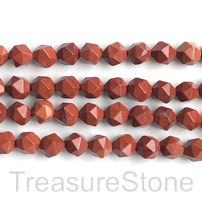 "Bead, red jasper, 8mm, faceted nugget,star cut. 15"", 47pcs"