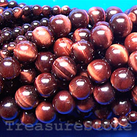 Bead, red Tiger's Eye, 4mm round. 16-inch strand.